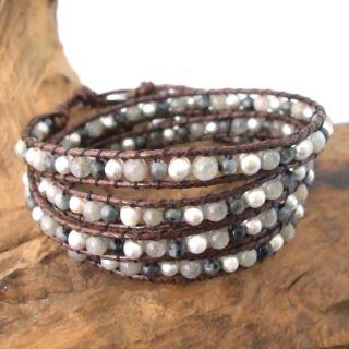 Twilight Feast Labradorite Brown Leather Pearl Wrap Bracelet
