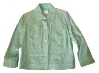Dana Buchman Womens 100% Linen Light Green Jacket S