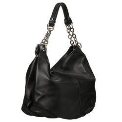 Bodhi Modern Black Leather Top zip Bag