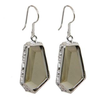 Adee Waiss Sterling Silver Brown Crystal Earrings