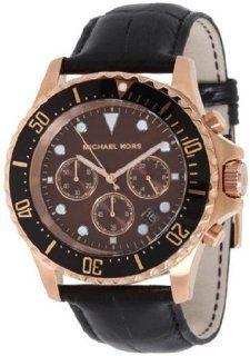 Michael Kors Watch, Mens Chronograph Everest Black Leather Strap 45mm