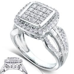 14k White Gold 1ct TDW Diamond Composite Halo Engagement Ring (H I, I1