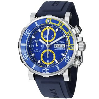 Paul Picot Mens Yachtman Blue Dial Blue Rubber Strap Watch