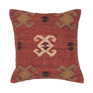Traditional Wool/ Jute Red/ Orange 18 inch Decorative Pillow