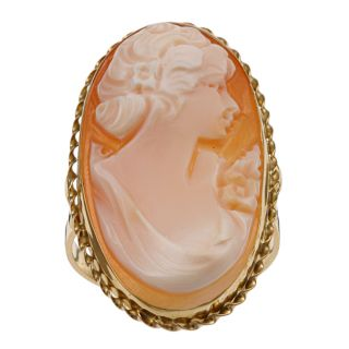 14k Yellow Gold Tortiglione Shell Cameo Profile Ring