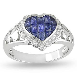 18k Gold Sapphire and 1/6ct TDW Diamond Fashion Ring (H I, I1 I2