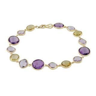 14k Yellow Gold Multi gemstone Tennis Bracelet