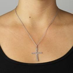 Isabella Platinum over Silver 1/10ct TDW Diamond Cross Necklace (G H