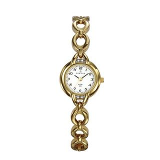 Certus Paris womens gold tone brass white dial crystal design watch