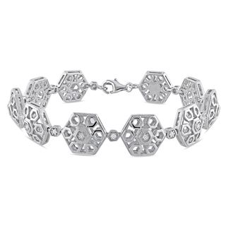Miadora Sterling Silver 1/5ct TDW Diamond Bracelet (G H, I1 I2