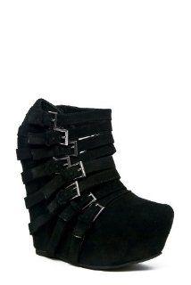 Jeffrey Campbell Zip 2 High Wedge Bootie   Black Shoes
