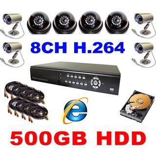 channel H.264 DVR Web ready 500GB Surveillance System with 8 Night