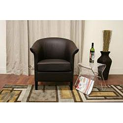 Milo Brown Leather Contemporary Club Chair