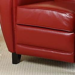 David Red Bonded Leather Club Chair