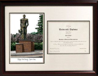 Michigan State Spartans Statue Framed Scholar Diploma