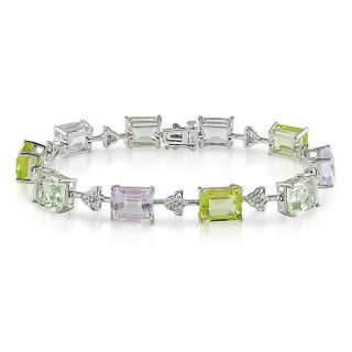 Miadora 14k White Gold Multi gemstone and Diamond Tennis Bracelet