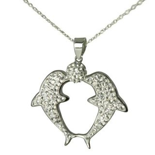 Sterling Silver Crystal Double Dolphin Necklace