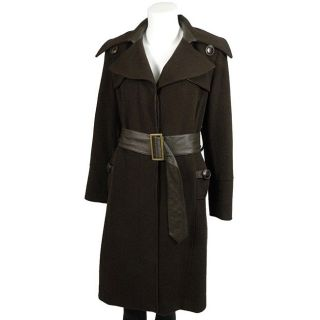 Maika Womens Brown Belted Cashmere Blend Coat