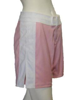 UN92 Women Stripe MMA Fight Shorts   Pink/White 10 Sports