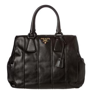 Prada Medium Ribbed Black Leather Framed Satchel