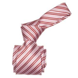 Republic Mens Red Striped Microfiber Neck Tie