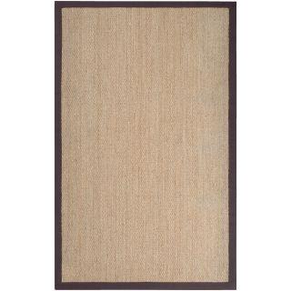 Hand woven Brown Bonny Natural Fiber Seagrass Cotton Border Rug (5 x