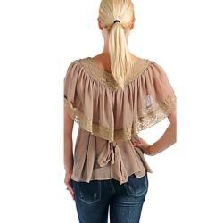 Stanzino Womens Taupe V neck Sheer Top