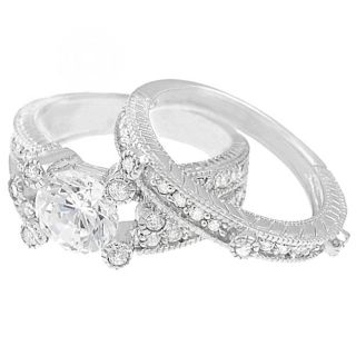 Tressa Sterling Silver Round cut Pave set Cubic Zirconia Bridal Ring