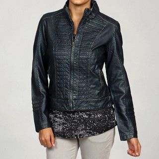 Big Chill Womens Gold Indigo Horizontal Stitched Pleat Faux Leather