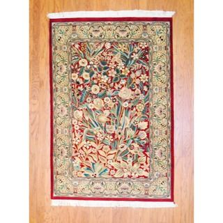 Pakistani Hand knotted Isfahan Red/ Green Wool Rug (41 x 61