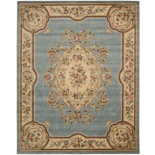 Handmade Ivory/ Light Blue Hand spun Wool Rug (8 x 10)