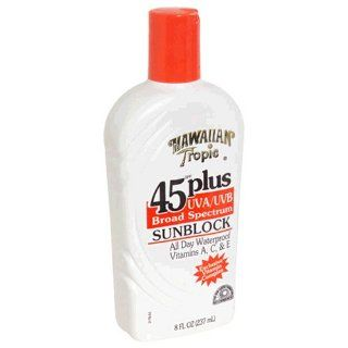 Hawaiian Tropic Sunblock, UVA/UVB Broad Spectrum, SPF 45