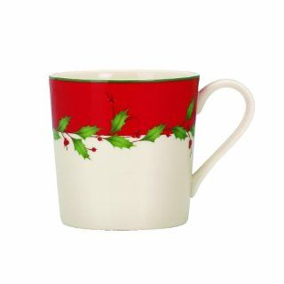 Lenox Holiday Red Mugs, Set of 4