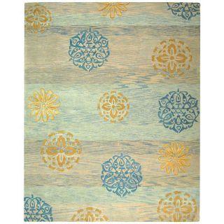 Handmade Rodeo Drive Blox Blue/ Multi N.Z. Wool Rug (96 x 136
