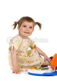 Cute little girl and toy laptop  Stock Photo © Tetiana Vychegzhanina