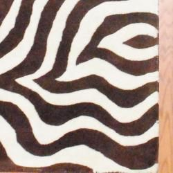 Indo Hand tufted Zebra print Brown/ Ivory Wool Rug (33 x 53