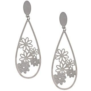 La Preciosa Stainless Steel Flower Design Teardrop Earrings