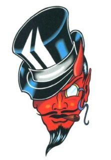 Red Devil with Top Hat & Cigar Temporary Body Art Tattoos