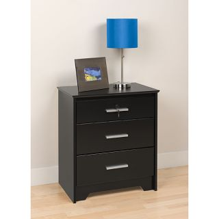 Yaletown Black Wide Locking 3 drawer Night Stand