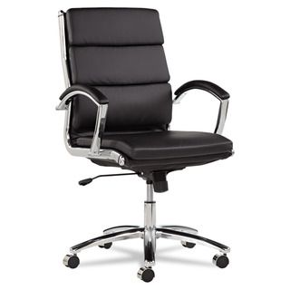 Alera Neratoli Black Faux Leather Chrome Frame Mid back Swivel / Tilt