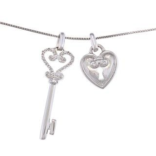 Sterling Silver Diamond Accent Heart Key Charm Necklace