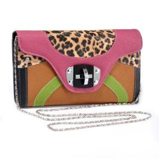 Inspired Multicolored Leopard Clutch/Organizer Pink/Brown Shoes