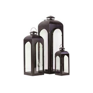 Urban Trends Collection Brown Metal Lantern (Set of 3)