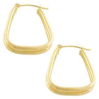 14k Yellow Gold Fancy Double Hoop Earrings