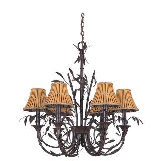 Six Light Forest Bronze Moorea Chandelier