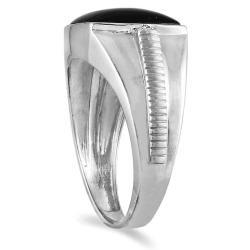 10k White Gold Onyx and Diamond Mens Ring