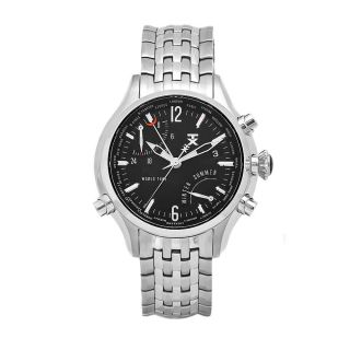 Timex Mens World Time Stainless Steel Black Dial Watch