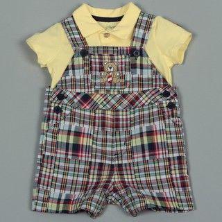 Little Me Infant Boys Plaid Overall Shorts Set