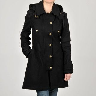 Betsey Johnson Juniors Black Wool blend Hooded Coat