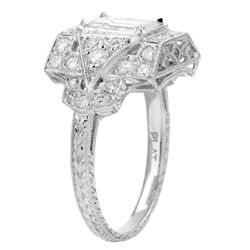 Platinum 2ct TDW Emerald cut Diamond Engagement Ring (I, VS2